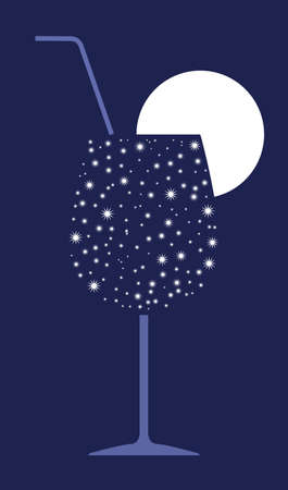 Cocktail glass, straw and fruit slice symbolized by star constellations on night background