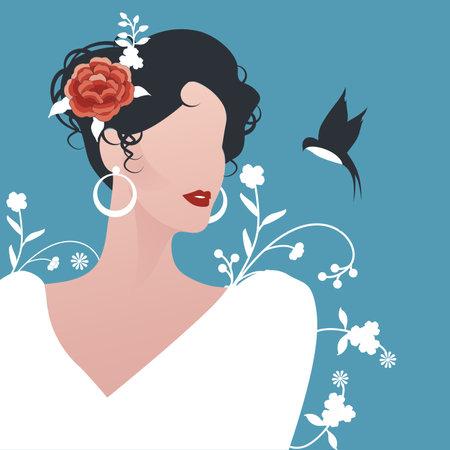 Elegant Spanish woman wearing earrings, flowers in her hair and little swallow on flowery blue background 矢量图像