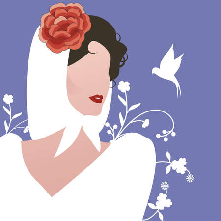 Elegant Spanish woman with a headscarf, flowers and the silhouette of a little swallow. Typical Madrid style