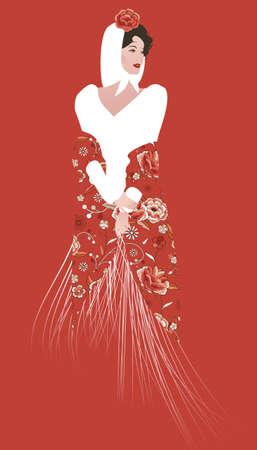 Elegant Spanish woman with headscarf, flowers and fringed Manila shawl. Typical costume of Madrid