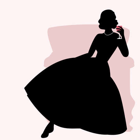 Silhouette of woman sitting on an armchair and dressed in elegant retro style dress holding a glass of red wine 矢量图像