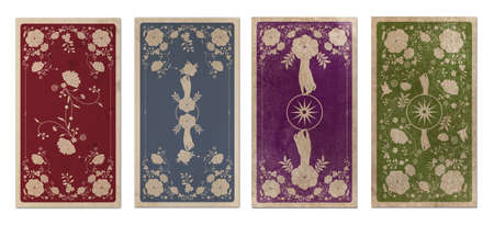 Back of Tarot card or playing card with floral ornamental elements and esoteric symbols on old paper. Victorian vintage style. Isolated on white background