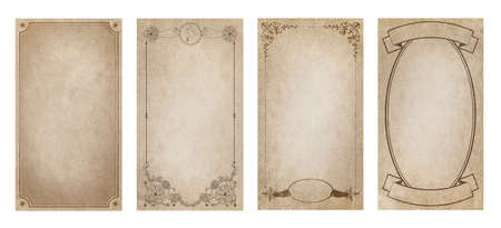Ornamental frames on old style grunge paper, isolated on white background 免版税图像