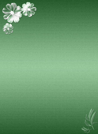 Green canvas background with floral pattern