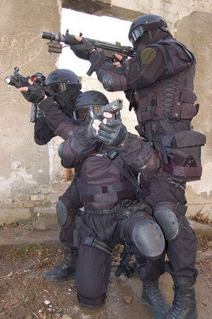 gunmens on ambush Stock Photo