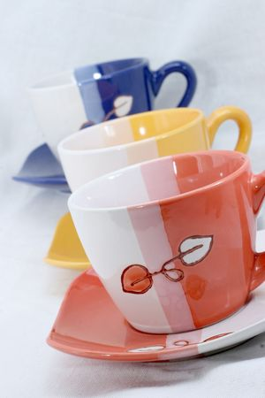 cup,coffee,milk,tee,three,colors,close up,table top,sugar