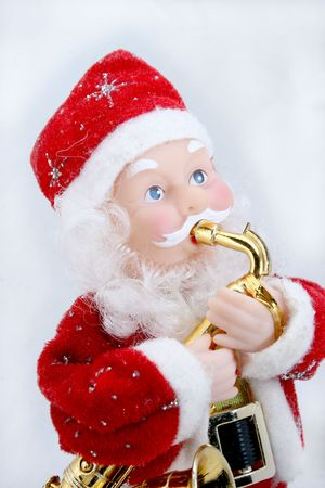 santa claus playing saxophone Stock Photo