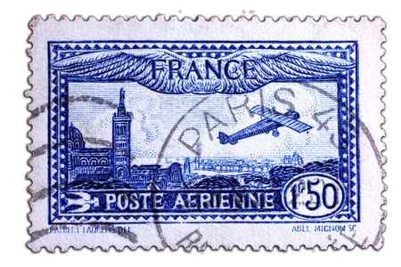 old postal stamp with french lanscape as motive
