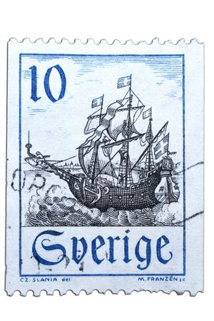 closeup image of postal stamp from sweden