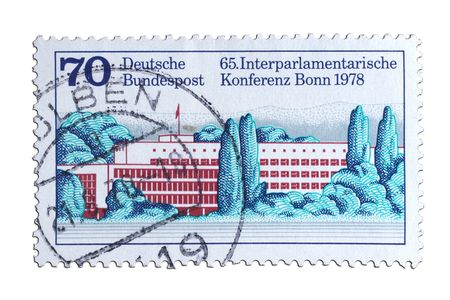 closeup image of postal stamp from germany which congress buliding as motiv Stock Photo