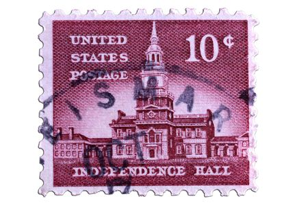 us independance: closeup image of postal stamp from united states of america Stock Photo
