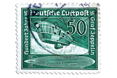 closeup image of postal stamp from germany