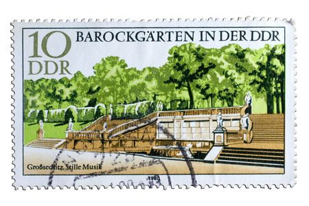 closeup image of postal stamp from german democratic republic Stock Photo