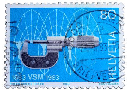 closeup image of postal stamp from switzerland Stock Photo - 4156574