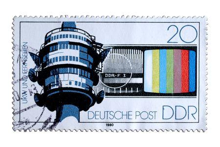 republik: closeup image of postal stamp from former german democratik republik