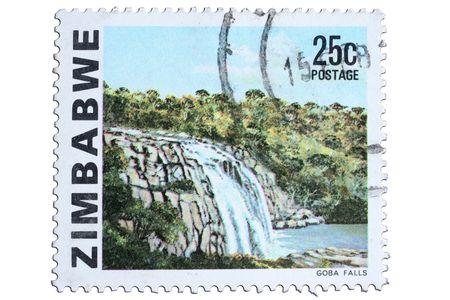 zimbabwe: closeup image of postal stamp from zimbabwe