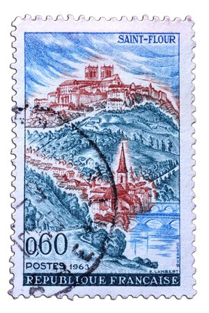 closeup image of postal stamp from france Stock Photo