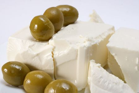 image of meal which ingrediens cheese and olives Stock Photo