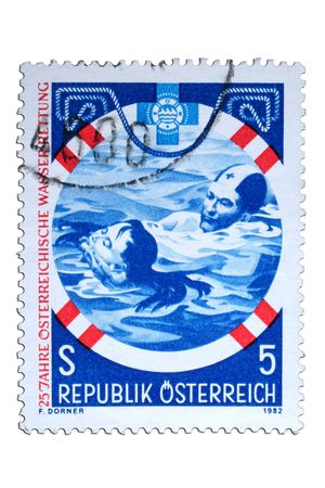 closeup image of postal stamp from austria Stock Photo - 4214358