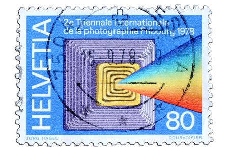 closeup image of postal stamp from switzerland