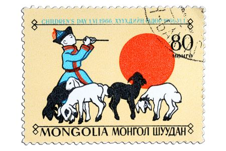 closeup image of postal stamp from mongolia Stock Photo