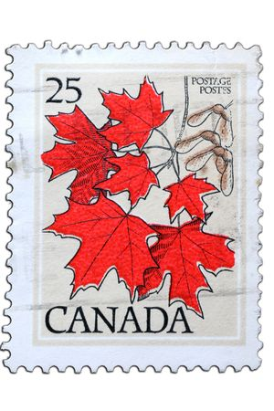 closeup image of postal stamp from canada