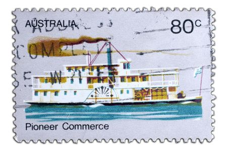 australia stamp: closeup image of postal stamp from australia
