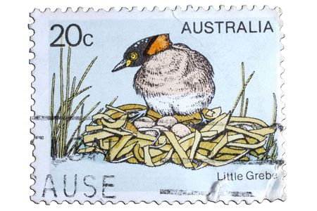 closeup image of postal stamp from australia