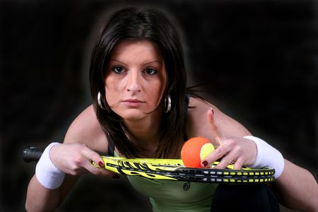 image of nice athletic girl that playing tenis