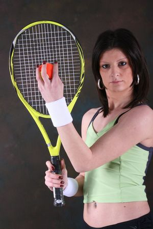 image of nice athletic girl that play tenis
