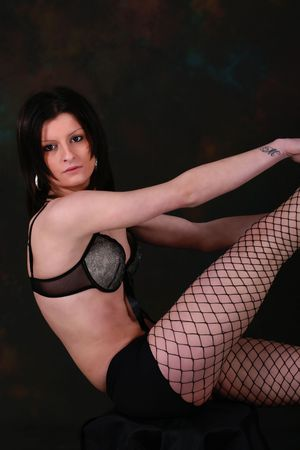 image of sexy young girl with black lingerie