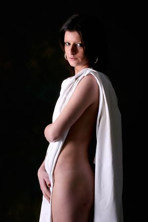 modesty: image of nice young half-naked girl