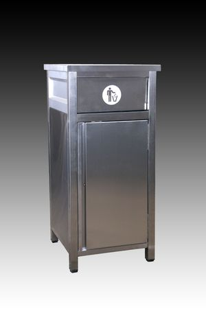 studio commercial image of stainles made dustbin