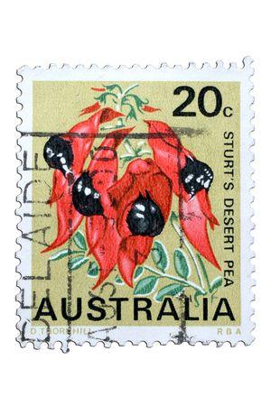 closeup image of postal stamp from australia photo