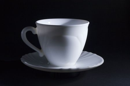 closeup image of one coffe or tea cup
