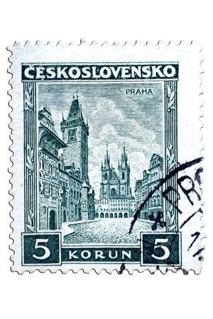 closeup image of postal stamp from czechoslowakia Stock Photo