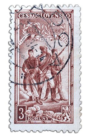 closeup image of postal stamp from czechoslowakia Stock Photo