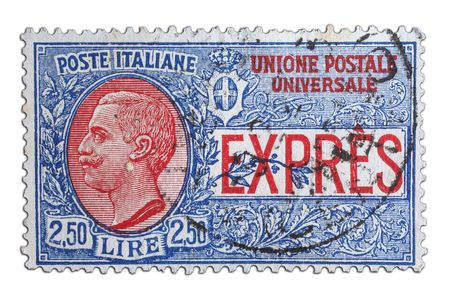 closeup image of postal stamp from italy Stock Photo