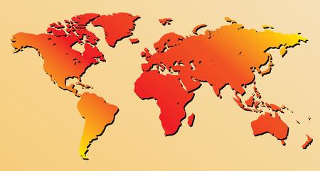 terra: red world map - vector