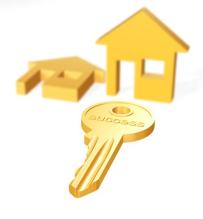 two house icons with key on white background photo