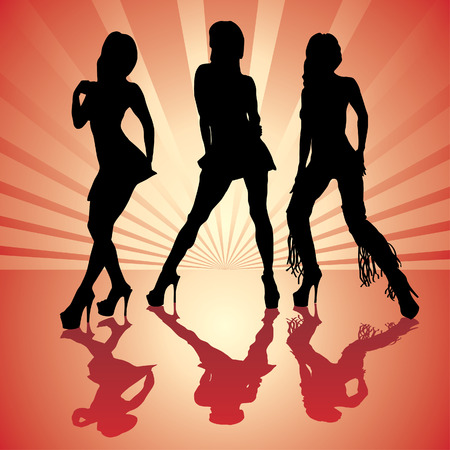 vector woman silhouettes in red