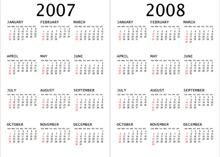 2007 - 2008 calendar vector illustration Stock Vector - 2669968