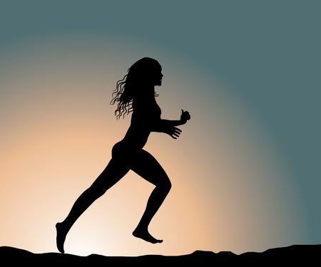 road runner: funcionamiento de fitness chica (ilustraci�n vectorial)