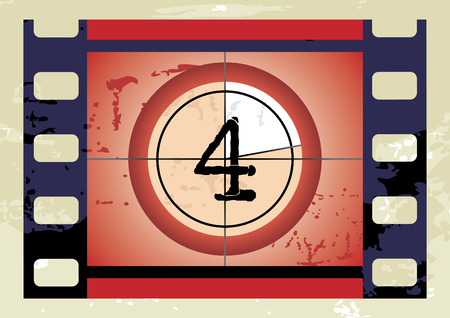 Scratched Film Countdown at No 4 Vector