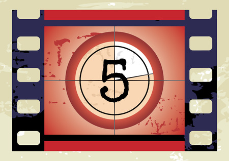 Scratched Film Countdown at No 5 Vector