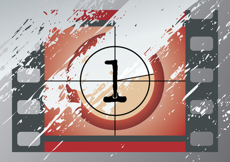 Scratched Film Countdown at No 1 Vector