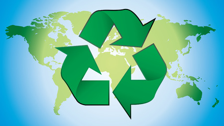 wastes: recycling symbol with world map in background Illustration