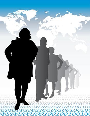 Business team - vector women silhouettes Vector
