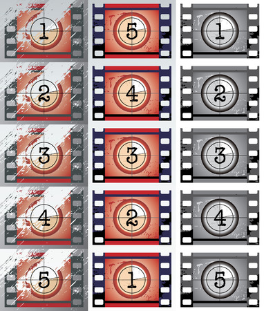 count down: grunge, black and white film countdowns Illustration