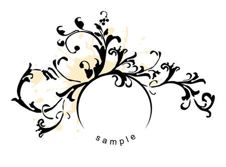 grunge floral design element Illustration